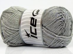 Lot of 4 x 100gr Skeins Ice Yarns MACRAME CORD Yarn Silver Light Grey