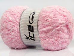 Lot of 4 x 100gr Skeins Ice Yarns PUFFY POMPOM (85% MicroFiber) Yarn Baby Pink