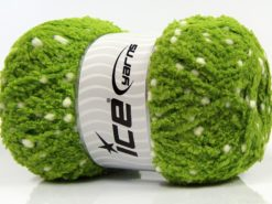 Lot of 4 x 100gr Skeins Ice Yarns PUFFY POMPOM (85% MicroFiber) Yarn Green