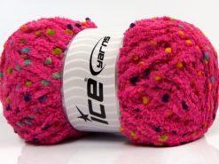 Lot of 4 x 100gr Skeins Ice Yarns PUFFY POMPOM (85% MicroFiber) Yarn Dark Fuchsia