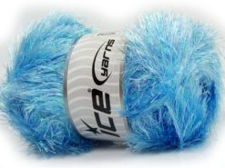 Lot of 4 x 100gr Skeins Ice Yarns EYELASH DAZZLE Yarn Blue Iridescent