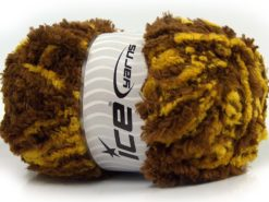 Lot of 4 x 100gr Skeins Ice Yarns PANDA DUO (100% MicroFiber) Yarn Brown Yellow