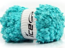 Lot of 4 x 100gr Skeins Ice Yarns PUFFY POPCORN (100% MicroFiber) Yarn Turquoise