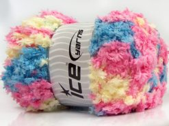 Lot of 4 x 100gr Skeins Ice Yarns PUFFY POPCORN (100% MicroFiber) Yarn Pink Blue Light Yellow