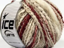 Lot of 8 Skeins Ice Yarns SALE WINTER (20% Wool) Yarn Cream Beige Red