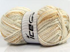 Lot of 4 x 100gr Skeins Ice Yarns WOOL FUN COLORS (30% Wool) Yarn Cream Light Salmon Light Brown Light Grey