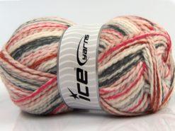 Lot of 4 x 100gr Skeins Ice Yarns WOOL FUN COLORS (30% Wool) Yarn Cream Dark Grey Fuchsia Copper
