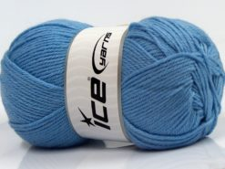 Lot of 4 x 100gr Skeins Ice Yarns WOOLRICH SOFTY FINE (65% Wool) Yarn Baby Blue
