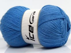Lot of 4 x 100gr Skeins Ice Yarns WOOLRICH SOFTY FINE (65% Wool) Yarn Light Blue