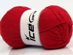 Lot of 4 x 100gr Skeins Ice Yarns WOOLRICH SOFTY FINE (65% Wool) Yarn Dark Red