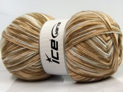 Lot of 2 x 200gr Skeins Ice Yarns COLORWAY DK 200 Yarn Brown Shades White