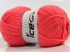 Lot of 4 x 100gr Skeins Ice Yarns SOFTLY BABY FINE Hand Knitting Yarn Salmon