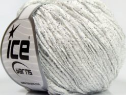 Lot of 8 Skeins Ice Yarns SALE CHENILLE Hand Knitting Yarn Off White Silver