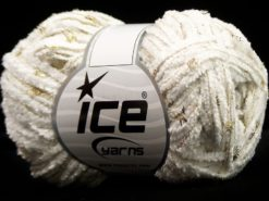 Lot of 8 Skeins Ice Yarns SALE CHENILLE Hand Knitting Yarn White Gold