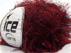 Lot of 8 Skeins Ice Yarns LONG EYELASH Hand Knitting Yarn Red Black
