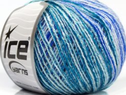Lot of 8 Skeins Ice Yarns SALE SELF-STRIPING Yarn Turquoise Shades Purple White