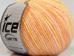 Lot of 8 Skeins Ice Yarns SALE SELF-STRIPING Yarn Salmon Shades Light Yellow White