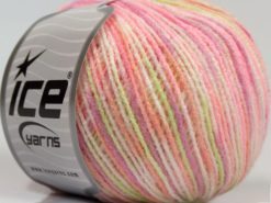 Lot of 8 Skeins Ice Yarns SALE SELF-STRIPING Yarn Pink Shades White Light Green