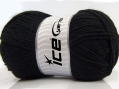Lot of 4 x 100gr Skeins Ice Yarns SOLID SOCK (75% Superwash Wool) Yarn Black