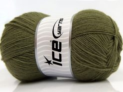 Lot of 4 x 100gr Skeins Ice Yarns SOLID SOCK (75% Superwash Wool) Yarn Khaki