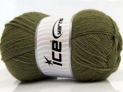 Lot of 4 x 100gr Skeins Ice Yarns SOLID SOCK (75% Superwash Wool) Yarn Khaki