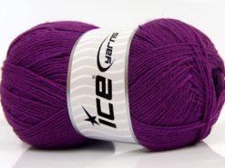 Lot of 4 x 100gr Skeins Ice Yarns SOLID SOCK (75% Superwash Wool) Yarn Purple