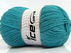 Lot of 4 x 100gr Skeins Ice Yarns SOLID SOCK (75% Superwash Wool) Yarn Turquoise