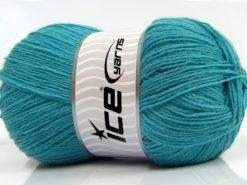 Lot of 4 x 100gr Skeins Ice Yarns SOLID SOCK (75% Superwash Wool) Yarn Turquoise