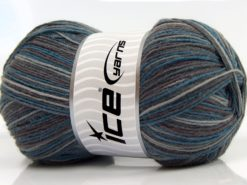 Lot of 4 x 100gr Skeins Ice Yarns MAGIC SOCK (75% Superwash Wool) Yarn Grey Shades Blue Maroon