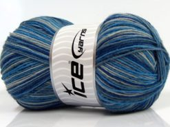 Lot of 4 x 100gr Skeins Ice Yarns MAGIC SOCK (75% Superwash Wool) Yarn Blue Shades Grey