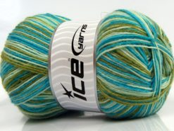 Lot of 4 x 100gr Skeins Ice Yarns MAGIC SOCK (75% Superwash Wool) Yarn Turquoise Green Shades