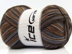 Lot of 4 x 100gr Skeins Ice Yarns MAGIC SOCK (75% Superwash Wool) Yarn Brown Light Grey Beige