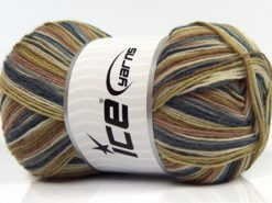 Lot of 4 x 100gr Skeins Ice Yarns MAGIC SOCK (75% Superwash Wool) Yarn Jeans Blue Camel Cream Green