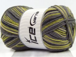 Lot of 4 x 100gr Skeins Ice Yarns MAGIC SOCK (75% Superwash Wool) Yarn Grey Black Green Shades