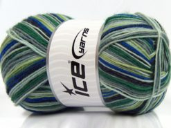Lot of 4 x 100gr Skeins Ice Yarns MAGIC SOCK (75% Superwash Wool) Yarn Green Shades Blue Grey Shades