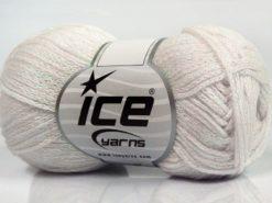 Lot of 8 Skeins Ice Yarns ELEGANT METALLIC COTTON (88% Cotton) Yarn White Iridescent