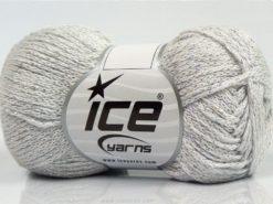 Lot of 8 Skeins Ice Yarns ELEGANT METALLIC COTTON (88% Cotton) Yarn Off White
