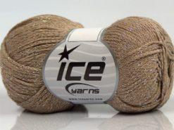 Lot of 8 Skeins Ice Yarns ELEGANT METALLIC COTTON (88% Cotton) Yarn Light Camel