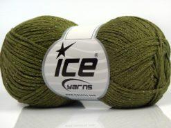 Lot of 8 Skeins Ice Yarns ELEGANT METALLIC COTTON (88% Cotton) Yarn Khaki