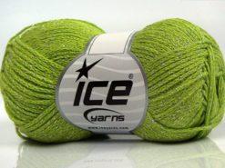 Lot of 8 Skeins Ice Yarns ELEGANT METALLIC COTTON (88% Cotton) Yarn Pistachio Green