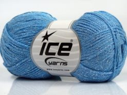 Lot of 8 Skeins Ice Yarns ELEGANT METALLIC COTTON (88% Cotton) Yarn Light Blue