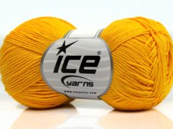 Lot of 8 Skeins Ice Yarns PURE COTTON FINE (100% Cotton) Yarn Yellow