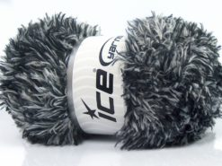 Lot of 4 x 100gr Skeins Ice Yarns SALE EYELASH (100% MicroFiber) Yarn Black White
