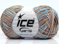 Lot of 8 Skeins Ice Yarns SALE SELF-STRIPING Yarn Camel Shades Turquoise