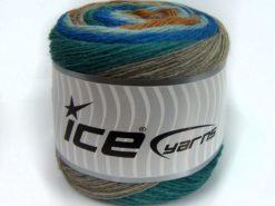 Lot of 2 x 150gr Skeins Ice Yarns SALE CAKES YARN (25% Wool) Yarn Blue Shades Turquoise Camel beige