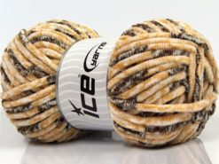 Lot of 4 x 100gr Skeins Ice Yarns CHENILLE BABY SAFARI (100% MicroFiber) Yarn Cream Brown White
