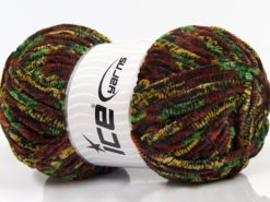 Lot of 4 x 100gr Skeins Ice Yarns CHENILLE BABY SAFARI (100% MicroFiber) Yarn Copper Black Green Gold