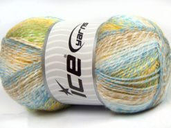 Lot of 2 x 200gr Skeins Ice Yarns PUZZLE BABY Yarn Turquoise Blue Camel Yellow White