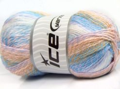 Lot of 2 x 200gr Skeins Ice Yarns PUZZLE BABY Yarn Lilac Blue White Pink Camel