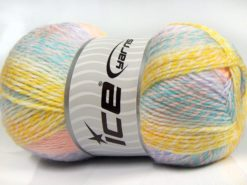 Lot of 2 x 200gr Skeins Ice Yarns PUZZLE BABY Yarn Turquoise White Pink Lilac Yellow Salmon
